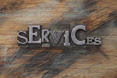 Services word in metal type blocks Stock Photos