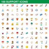 100 servicesymboler uppsättning, tecknad filmstil Arkivbild