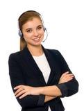 Servicetelefonoperatör i hörlurar med mikrofon Fotografering för Bildbyråer