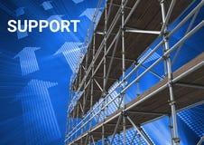 Servicetext med materialet till byggnadsställning 3D och teknologi har kontakt med pilar Arkivfoto