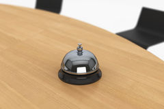 Servicing Bell on the Wooden Table Royalty Free Stock Photos