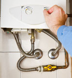 Servicing gas boiler Stock Photography