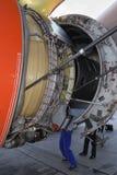 Servicing jet-engine royalty free stock image