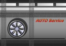 Servicio auto, rueda de coche en el asfalto, el camino con las marcas blancas, con los rastros de neumáticos stock de ilustración