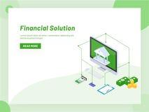 Servicio bancario en línea o diseño isométrico de la ayuda monetray, web ilustración del vector