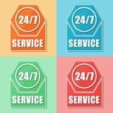 24/7 servicio, cuatro iconos del web de los colores Imágenes de archivo libres de regalías