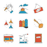 Servicio de alquiler y línea que acampa iconos fijados Imágenes de archivo libres de regalías