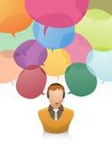Servicio de atención al cliente con la burbuja del discurso Imagenes de archivo