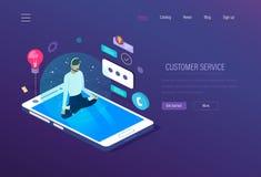 Servicio de atención al cliente El soporte técnico, operador del servicio de ayuda dedicó la consulta de clientes ilustración del vector
