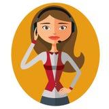 Servicio de atención al cliente Mujer hermosa que trabaja en un vecto del centro de atención telefónica libre illustration