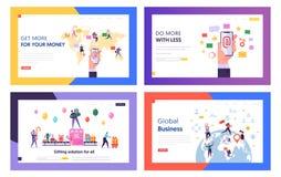 Servicio de email, negocio global, regalos que compran el sistema de las plantillas de la página del aterrizaje de la página web  libre illustration