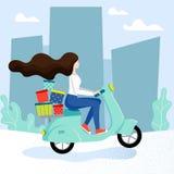 Servicio de entrega con el carácter femenino libre illustration
