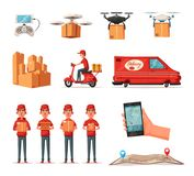 Servicio de entrega en furgoneta, vespa, abejón Coche para la entrega del paquete Ilustración del vector de la historieta Imagenes de archivo