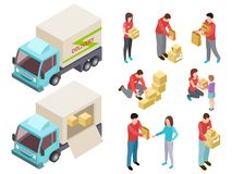 Servicio de entrega isométrico con el sistema del vector de la gente y del camión libre illustration