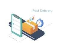 Servicio de entrega y comercio electrónico Empaquete la caja sellada con la cinta, tablero, cronómetro Concepto isométrico de la  Imagenes de archivo