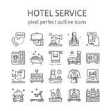 SERVICIO DE HOTEL: Iconos del esquema, pictograma y colección del símbolo stock de ilustración
