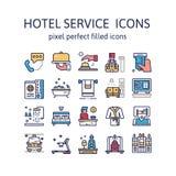 SERVICIO DE HOTEL: Iconos del esquema, pictograma y colección llenados del símbolo stock de ilustración
