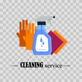 servicio de la limpieza Fije las herramientas de la limpieza de la casa en fondo transparente Productos detergentes y desinfectan Imagenes de archivo