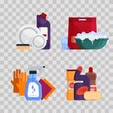 servicio de la limpieza Fije las herramientas de la limpieza de la casa en fondo trnsparent Productos detergentes y desinfectante Imagen de archivo