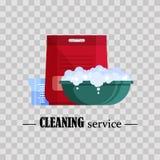 servicio de la limpieza Lavabo plástico plano con espuma, polvo y el cubilete del jabón en fondo transparente Palancana con la bi Fotografía de archivo libre de regalías