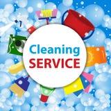 servicio de la limpieza Plantilla o fondo del cartel para el cleani de la casa Imagen de archivo