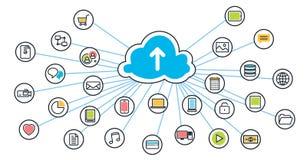 Servicio de la nube del ahorro con el fondo de los iconos de las ramas para el sitio web Imágenes de archivo libres de regalías