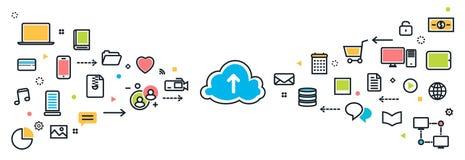 Servicio de la nube del ahorro con el fondo largo de los iconos para el bann del sitio web Foto de archivo libre de regalías