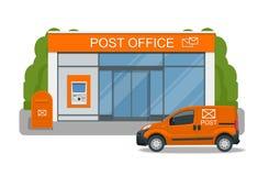 Servicio de la oficina de correos con el coche del montar a caballo del cartero para la entrega Ejemplo del vector aislado en fon Imágenes de archivo libres de regalías