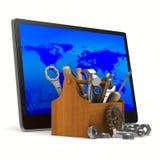 Servicio de la tableta en el fondo blanco Imágenes de archivo libres de regalías