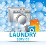 Servicio de lavadero Plantilla del cartel para los servicios de la limpieza de la casa Imagen de archivo