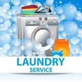 Servicio de lavadero Plantilla del cartel para los servicios de la limpieza de la casa VE stock de ilustración