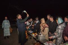 Servicio de noche en Pascua Dobrush, Bielorrusia Foto de archivo libre de regalías