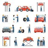 Servicio de reparación plano del coche del vector: mecánicos apropiados del trabajador del neumático Foto de archivo libre de regalías