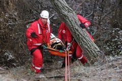 Servicio de rescate de la montaña de los paramédicos imagenes de archivo
