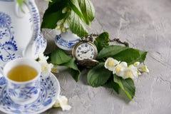 Servicio de té magnífico Té verde con el jazmín Foto de archivo