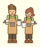 Servicio del café, vector gráfico de Barista stock de ilustración