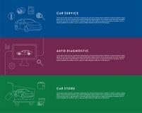 Servicio del coche, diagnóstico, banderas de la tienda Imagen de archivo