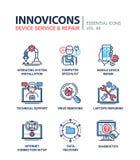 Servicio del dispositivo - línea moderna iconos del vector del diseño fijados stock de ilustración