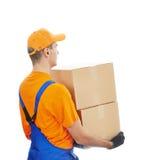 Servicio del hombre de entrega Foto de archivo libre de regalías