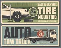 Servicio del montaje y de la grúa del neumático stock de ilustración