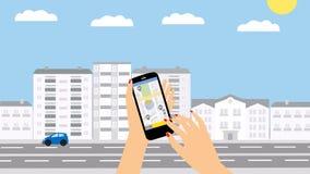 Servicio del taxi Smartphone y pantalla táctil, rascacielos de la ciudad ilustración del vector