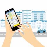 Servicio del taxi Smartphone y pantalla táctil, rascacielos de la ciudad Imagen de archivo libre de regalías