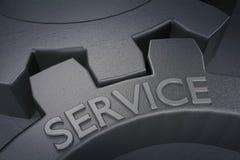 Servicio en los engranajes del metal en Grey Background representación 3d Imagenes de archivo