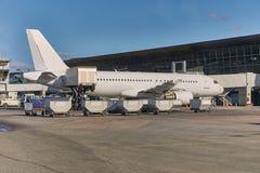 Servicio en tierra de los aviones Foto de archivo