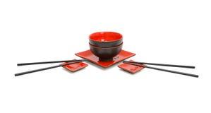 Servicio japonés del sushi para dos aislados Imagen de archivo libre de regalías
