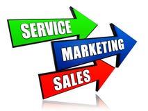 Servicio, márketing, ventas en flechas Fotografía de archivo libre de regalías
