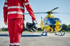 Servicio m?dico de la emergencia del helic?ptero foto de archivo libre de regalías