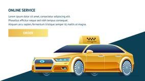 Servicio online amarillo del taxi Ilustración del vector ilustración del vector
