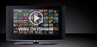 Servicio a pedido de VOD del vídeo en la TV fotografía de archivo libre de regalías