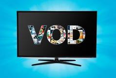 Servicio a pedido de VOD del vídeo en la TV elegante Imágenes de archivo libres de regalías